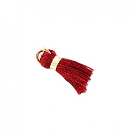 Two-colored pompom with ring -red/ ecru