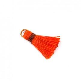 Pompon bicolore avec anneau - orange/ marron