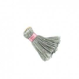 Two-colored pompom with ring - light grey/ pink