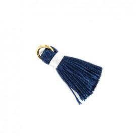 Pompon bicolore avec anneau - bleu/ blanc