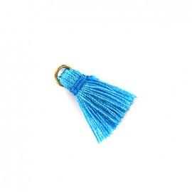 Pompon bicolore avec anneau - turquoise/ bleu azur