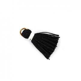 Two-colored pompom with ring - black/ white
