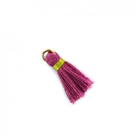 Two-colored pompom with ring - orchid/lime