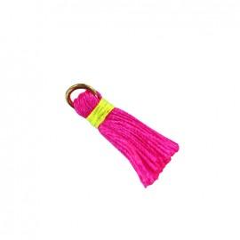 Pompon bicolore avec anneau - rose fluo/ jaune fluo