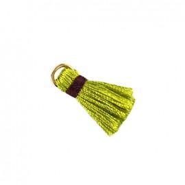 Pompon bicolore avec anneau - vert/ prune