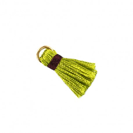 Two-colored pompom with ring - green/ plum