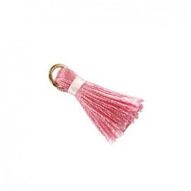 Pompon bicolore avec anneau - rose/ blanc
