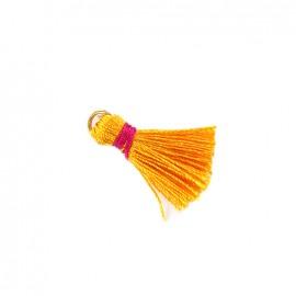 Pompon bicolore avec anneau - orange/ fuchsia