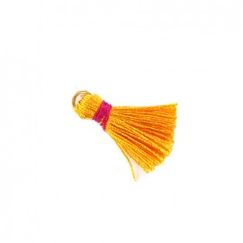 Two-colored pompom with ring - orange/ fuchsia