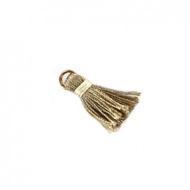 Pompon bicolore avec anneau - beige/ écru