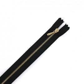 Fermeture à glissière métal maille fine doré - noir