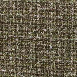 Woolen tweed lurex fabric - green x 10cm