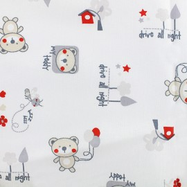Tissu coton Bouba - gris/rouge x 32cm