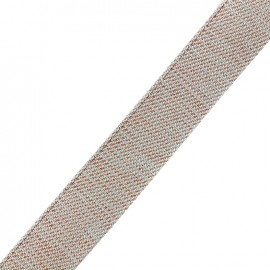 Lurex strap copper - light grey x 1m