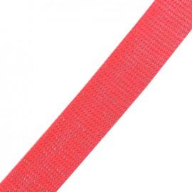 Sangle lurex argent - corail fluo x 1m