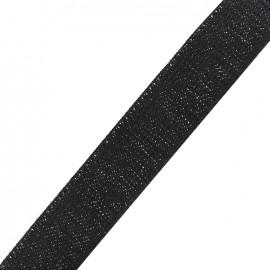 Lurex strap silver - black x 1m