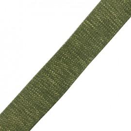 Lurex strap gold - khaki x 1m
