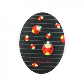 Thermocollant toile ovale Ladybug - gris foncé