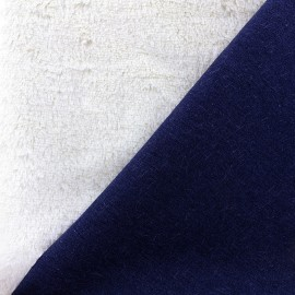 ♥ Coupon 120 cm X 140 cm ♥ Reversible denim and fur fabric Silky - ecru