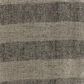 Cotton Canvas Fabric Linum stripes - ficelle black x 10cm