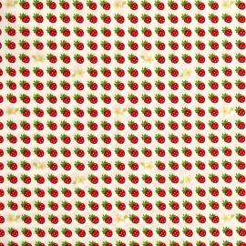 Cotton fabric Sevenberry Strawberries - white x10cm
