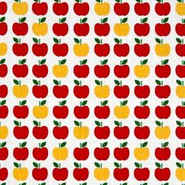 Tissu coton Back to school 2 Apple - white x10cm