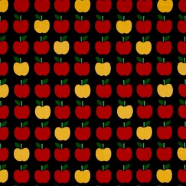 Tissu coton Back to school 2 Apple - black x10cm