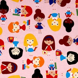Tissu coton Back to school 2 Girls - pink x 30cm