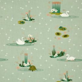 Tissu Coton bio Swan lake main - mint x 61cm