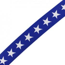 Elastique plat Stars 40 mm - blanc/navy x 1m