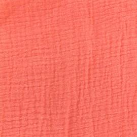 Tissu double gaze de coton - Corail Camillette création x 10cm