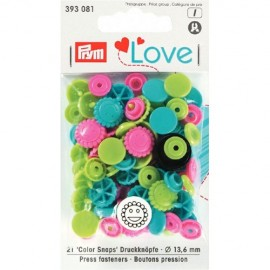 30 snap-buttons Color Snaps love flower - fuchsia/ green /blue mix