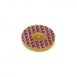 Polyester Button geometric vintage - dark purple /black