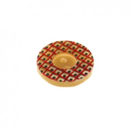 Polyester Button geometric vintage - red /black