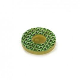 Polyester Button geometric vintage - green /black