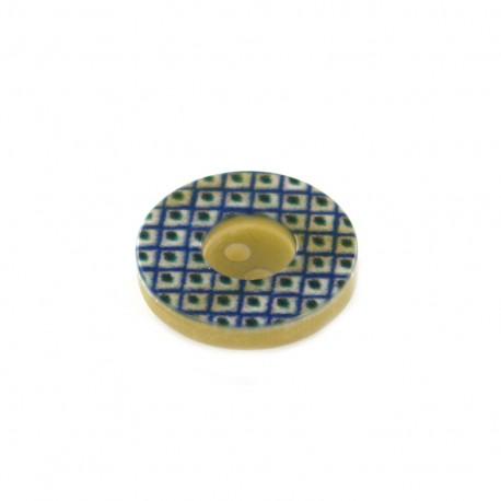 Bouton Polyester géométrique vintage - bleu/ noir