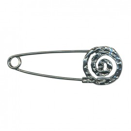 Kilt safety pin Spirale - old silver