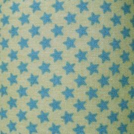Tissu étoiles pistache et azur x10cm