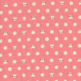 Tissu double gaze Cat Lady - pink x 10cm