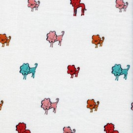 Double gauze cotton fabric Clover Dog Lions - pink x 30cm