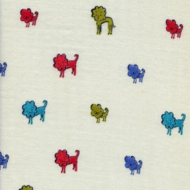 Double gauze cotton fabric Clover Dog Lions - blue x 30cm