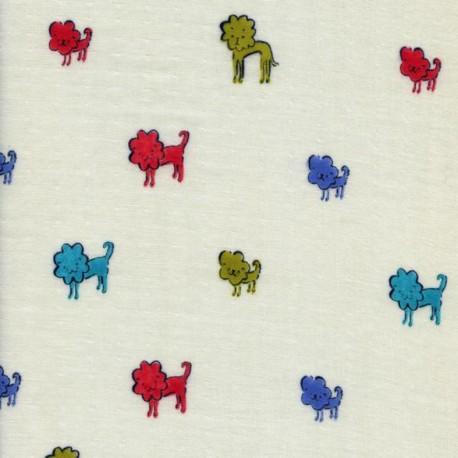Double gauze cotton fabric Clover Dog Lions - blue x 30cm
