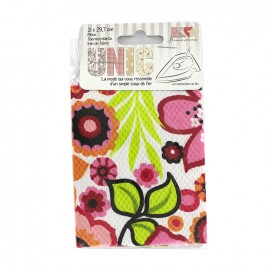 Tissu thermocollant fleurs tropicales