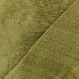 Wild Silk Fabric - olive green x 10cm