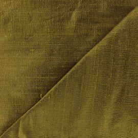 Wild Silk Fabric - khaki green x 10cm