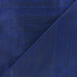 Tissu soie sauvage - saphir x 10cm