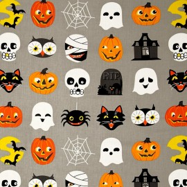 Tissu coton Haunted House - grey x 29cm