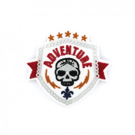 Iron on patch adventure blason - white