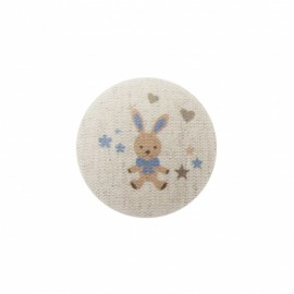 Bunny soft toy button  - bleu / natural