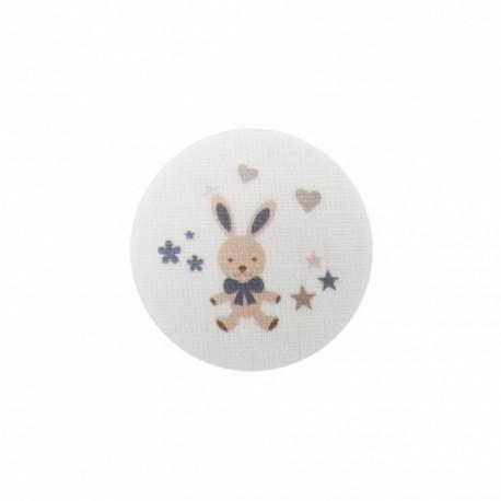 Bouton Mon doudou lapin - gris/ blanc